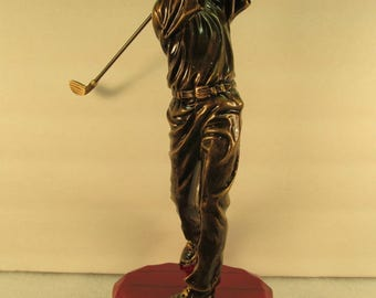 """Golf Award Bronze Rosewood Base 10 3/4"""" Tall  Free Custom Engraving Ships 2 Day Priority Mail"""