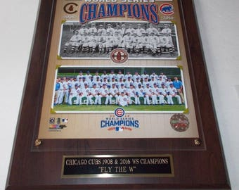 Chicago Cubs 1908 & 2016 World Series Champions Photo Plaque *Licensed* Ships 2 Day Priority Mail Gift Box