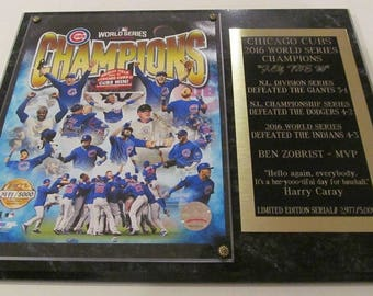 Chicago Cubs 2016 World Series Champion Photo Plaque Serial# Only 5,000 Produced Gift Box Ships 2 Day Priority Mail