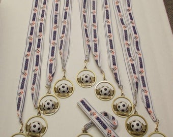 Soccer Medal Award 20 Medals Die Cast Medal Soccer Ribbon Free 2 Day Priority  Mail Shipping Same Day 7 Days
