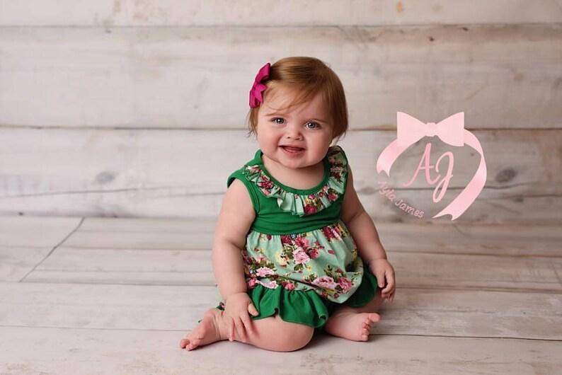 Green Floral Dress Casual Dress for Girls Girls Ruffle Dress Cap Sleeve Baby Ruffle Dress Toddler Ruffle Dress