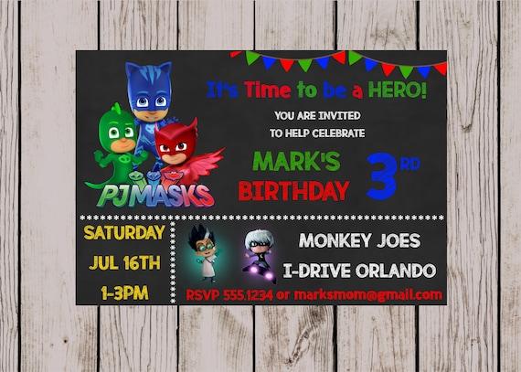 PJ Masks Birthday Party Invitation Invite Marks