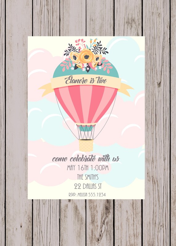 Hot air balloon birthday first birthday party invitation etsy image 0 filmwisefo