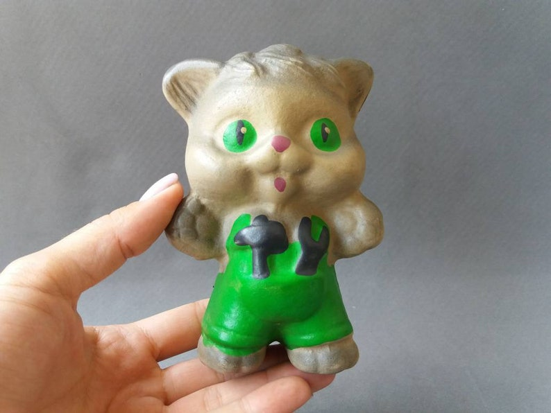 Gray rubber cat in green pants Vintage rubber cat Soviet cat toy Rubber Animal Made in the USSR Old Soviet Toy Nursery Decor Collectible Toy