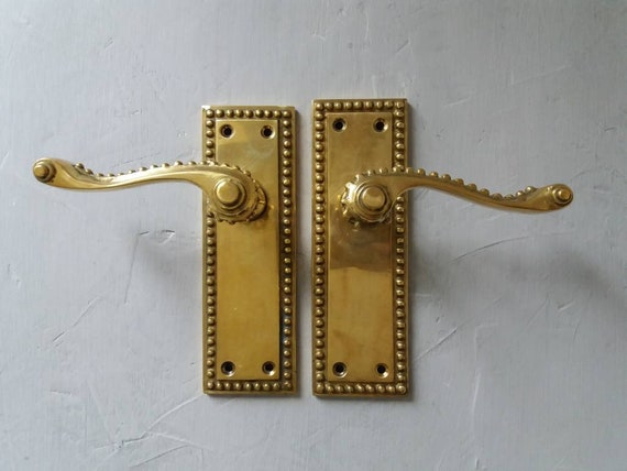 image 0 - Vintage Brass Door Handles Set Of 2 Antique Door Knobs Rustic Etsy