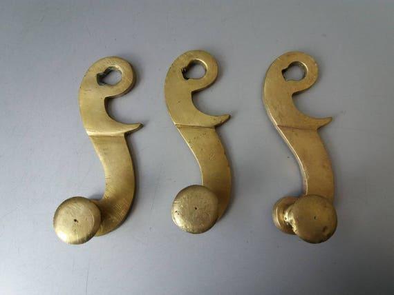 image 0 - Set Of 3 Antique Door Knobs Vintage Brass Hooks For Wall Coat Etsy