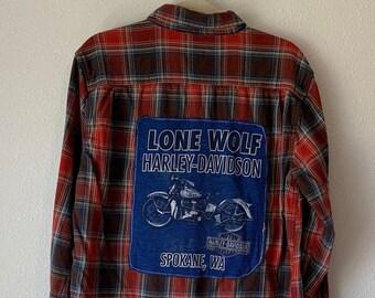Upcycled Harley Davidson Flannel, Oversized Flannel, Repurposed Flannel Shirt, Distressed Flannel, Fall Flannel, Motorcycle Shirt, Spokane