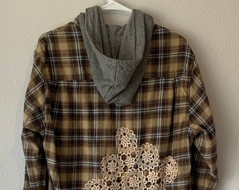 Upcycled Brown Plaid Flannel Button Down, Distressed Flannel, Repurposed Plaid, Fall T Shirt, Flannel Hoodie, Eyelet Lace, Fall Flannel