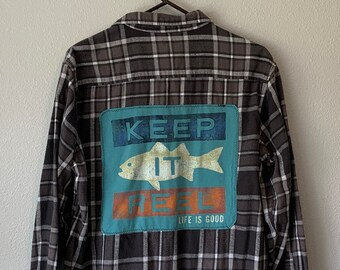Upcycled Black Plaid Flannel, Crochet Fringe, Oversized Flannel, Repurposed Flannel, Distressed, Fall Flannel, Fishing Shirt, Keep it Reel