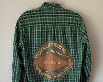 Upcycled Flannel With Lace, Vintage Flannel, Oversized Flannel Button Down, Distressed Flannel, Fall Flannel, Alaska Shirt, Sportsman's Top