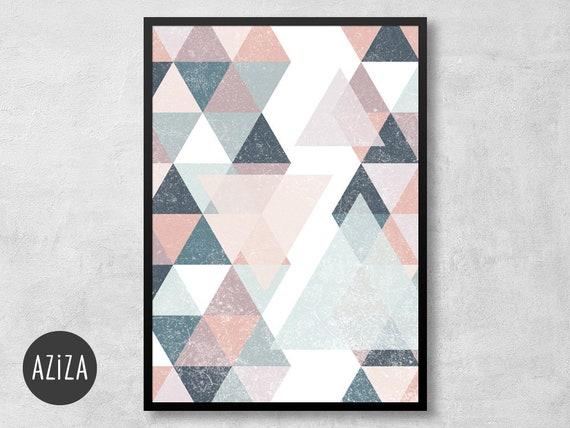 Poster A4 Wohnzimmer Dreiecke Skandi Design