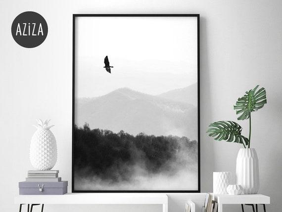 Hochwertig Poster A4 Wohnzimmer Wald U0026 Berge Schwarz Weiß | Etsy