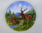 Beautiful old hand painted wallet / decorative plate with deer- Sckramberg handgemalt