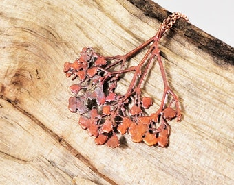 Electroformed Real Pressed Babies Breath Flowers Copper Necklace K23