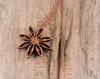 Electroformed Real Anise Seed Copper Necklace M21