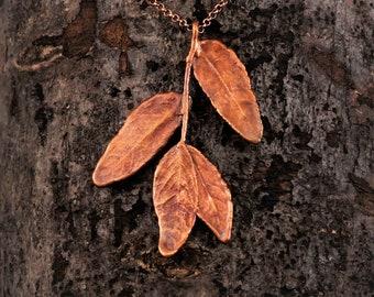 Electroformed Real Leaf Copper Necklace K28