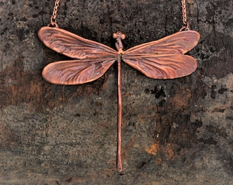 Electroformed Real Dragonlfly Copper Necklace I19