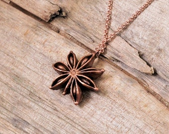 Electroformed Real Anise Seed Copper Necklace M24