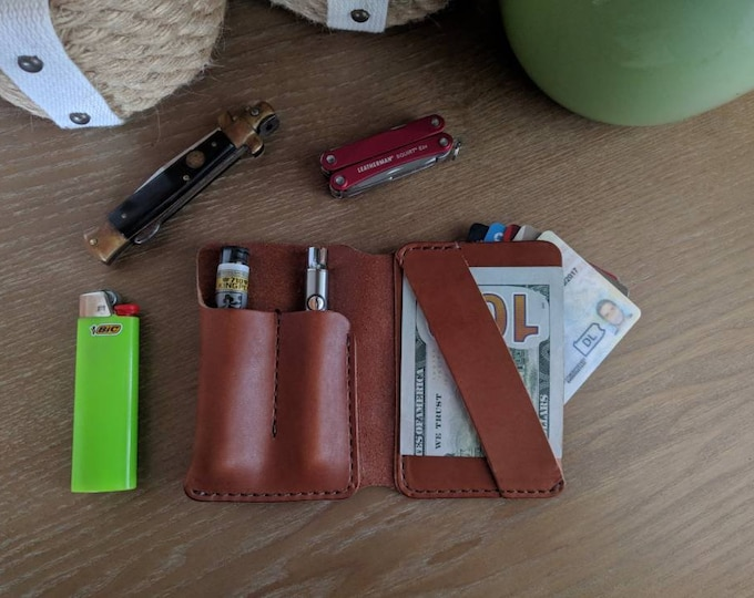 EDC Wallet, Minimalist Wallet, Every day carry, Tool wallet, pen wallet, Mens Leather wallet, leather bifold wallet, edc organizer, minimal