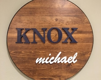 Round Wood Name Signs