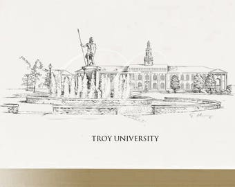 Troy University Note Cards, Thank You Cards, Alumni, Christmas Gift, Birthday, Graduation Gift (Boxed Notecard Set of 8)