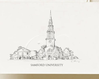 Samford University Note Cards, Thank You Cards, Alumni, Christmas Gift, Birthday, Graduation Gift (Boxed Notecard Set of 8)