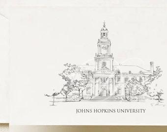 Johns Hopkins University Note Cards, Thank You Cards, Alumni, Christmas Gift, Birthday, Graduation Gift (Boxed Notecard Set of 8)