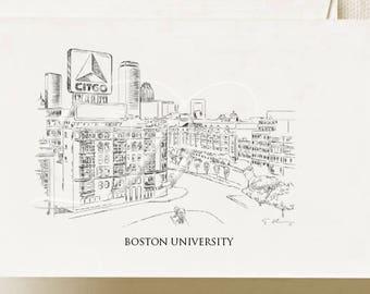 Boston University Note Cards, Thank You Cards, Alumni, Christmas Gift, Birthday, Graduation Gift (Boxed Notecard Set of 8)