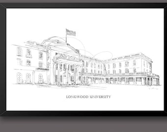 Longwood University, Fine Art Print, Hand Drawn, Virginia, State, Tech, Signed Art ( Sizes  5 x 7, 8 x 10, 13 x 19, 16 x 20)