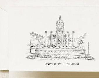 University of Missouri Note Cards, Thank You Cards, Alumni, Christmas Gift, Birthday, Graduation Gift (Boxed Notecard Set of 8)