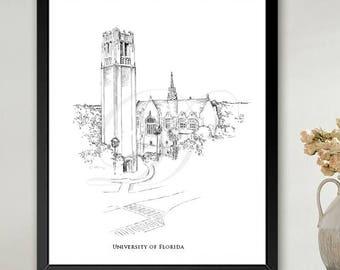 University of Florida, Century Tower Art Print Hand Drawn, UFL, Florida,  University, State College