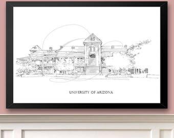 University of Arizona, Art Print Hand Drawn, UA, Arizona University, State College ( Sizes  5 x 7, 8 x 10, 13 x 19, 16 x 20)