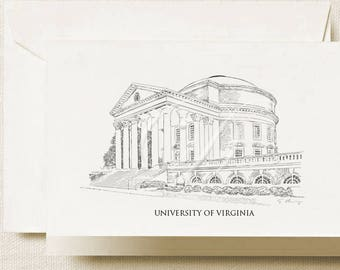 University of Virginia Note Cards, Thank You Cards, Alumni, Christmas Gift, Birthday, Graduation Gift (Boxed Notecard Set of 8)