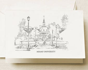 Miami University Note Cards, Thank You Cards, Alumni, Christmas Gift, Birthday, Graduation Gift (Boxed Notecard Set of 8)