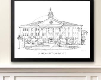 James Madison University Art Print, Hand Drawn, JMU, Virginia Tech, State College Signed Art ( Sizes  5 x 7, 8 x 10, 13 x 19, 16 x 20)