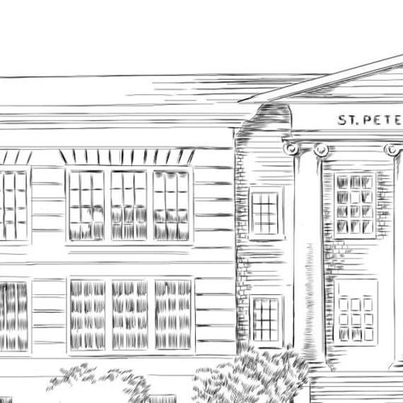 St  Petersburg College, Art Print Hand Drawn, Florida, Tech, University,  State College Art ( Sizes 5 x 7, 8 x 10, 13 x 19, 16 x 20)