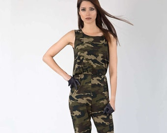 6268fd359e17 Military Backless Cotton Jumpsuit