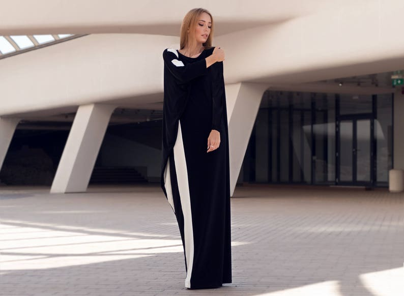 Plus size kaftan maxi dress with long sleeves