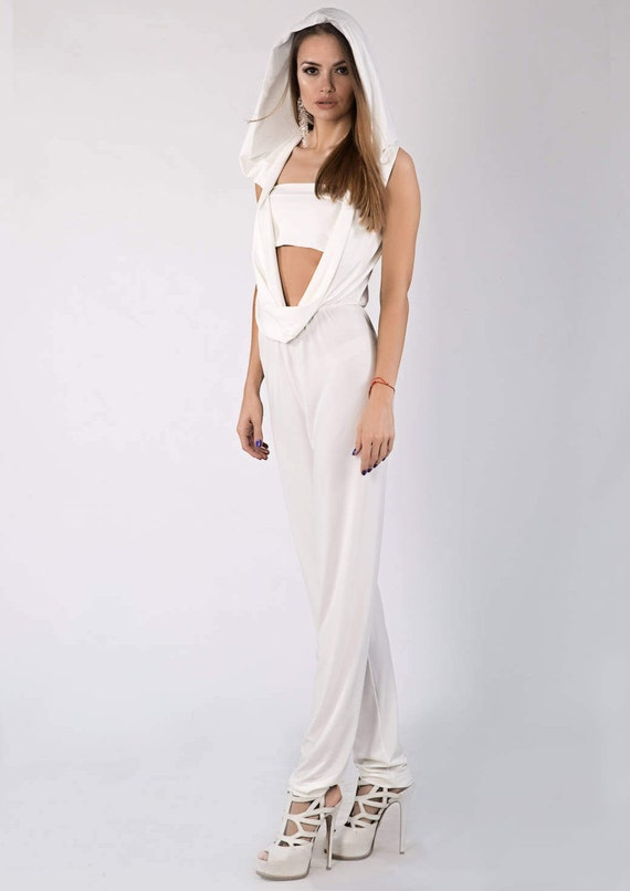 Jumpsuits For Women Alternative Wedding Wedding Jumpsuit White Jumpsuit Modern Wedding Jumpsuit With Hoodie Bridal Jumpsuit
