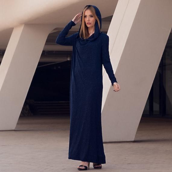 Navy Blue Hoodie Kaftan Maxi Dress, Plus Size Clothing