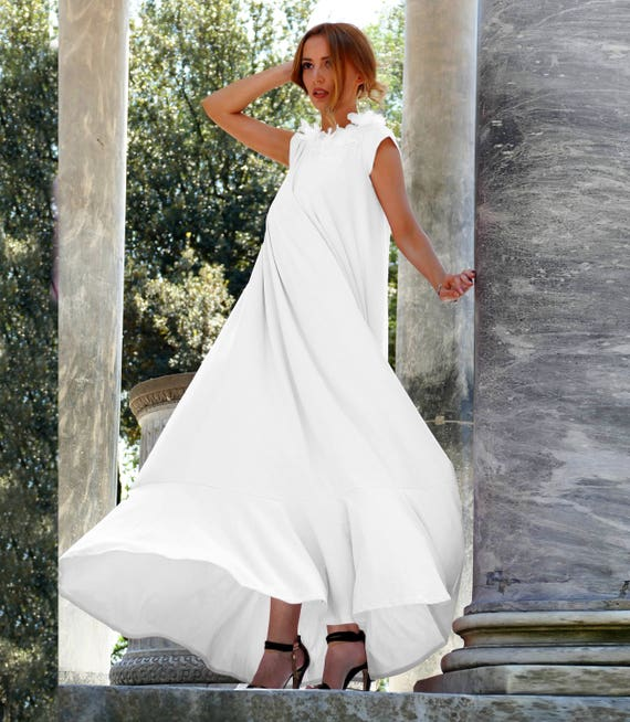 Plus Size White Draped Maxi Dress