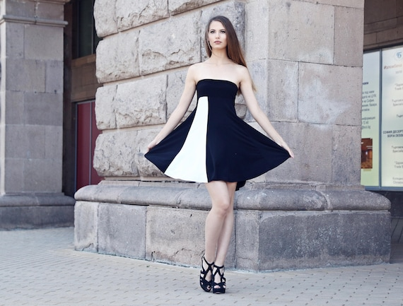 Black Dress Black Strapless Dress Off Shoulders Dress Black Etsy