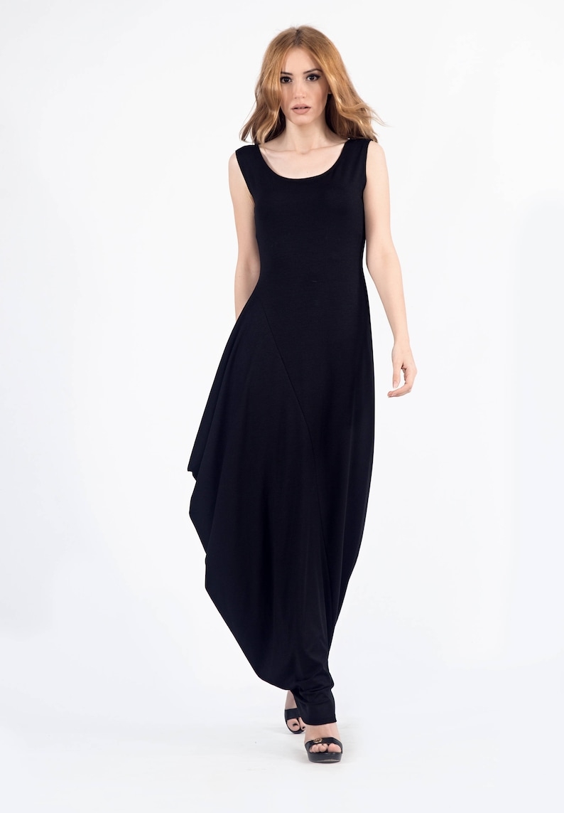 10712115d91 Plus Size Black Asymmetrical Maxi Dress