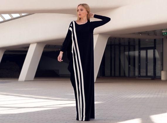 Black White Maxi Dress With Sleeves Plus Size Clothing Black Etsy