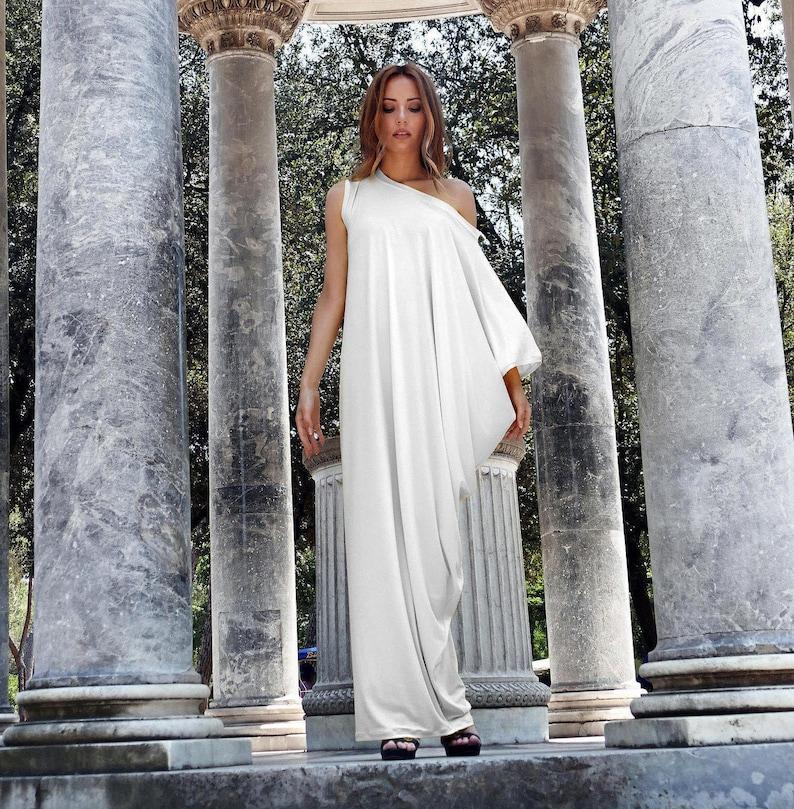1268f64d50c Off White Asymmetrical Kaftan Maxi Dress