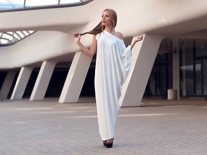 17170ff5c3a White Maxi Dress Asymmetrical Plus Size Dress