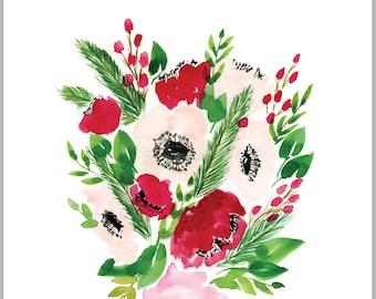 Red Poppy Bouquet Print