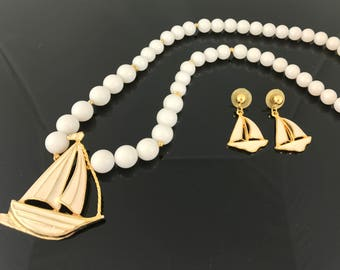 White Enamel Sailboat Necklace and Pierced Earring Set