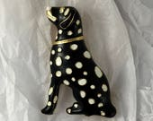 Black Enamel Dog with White Spots, Gold Tone Brooch / Pin