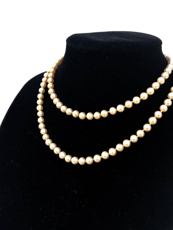 Vintage Marvella Knotted Faux Pearl Necklace - image 1